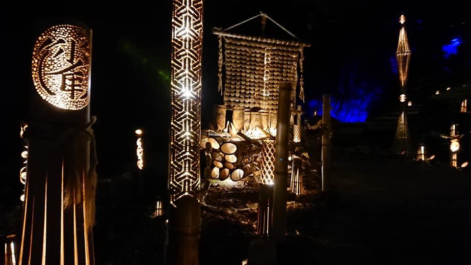 Bamboo lanter illumination at Akame 48 Falls