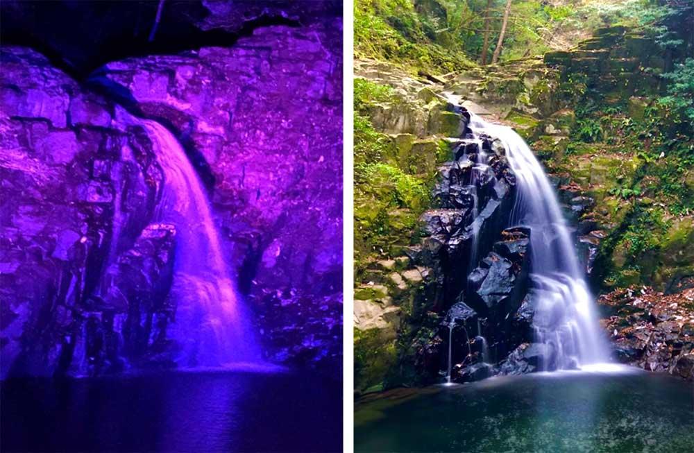Fudo Falls day and night